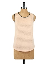 Beige Round Neck Sleeveless Top - Globus