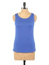 Plain Blue Sleeveless Knit Top - Globus