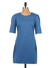 Blue Coloured Puff Sleeve Dress - Globus
