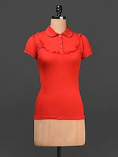 Shirt Collar Cotton Top - Saadgi