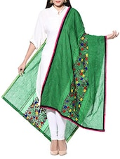 Green Hand Embroidered Phulkari Cotton Dupatta - By