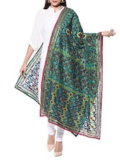 Green Hand Embroidered Sequined Phulkari Dupatta - By