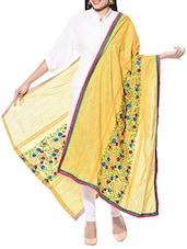 Yellow Hand Embroidered Phulkari Cotton Dupatta - By
