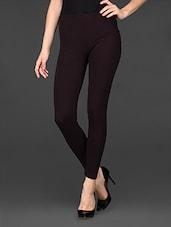 Dark Brown Cotton Lycra Ankle Length Leggings - De Moza