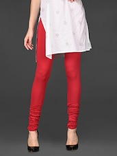 Bright Red Viscose Lycra Churidaar Leggings - De Moza