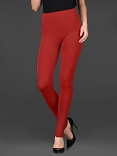 Red Ankle Length Viscose Lycra Leggings - De Moza