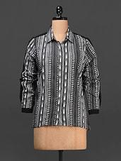 Aztec & Monchrome Printed Cotton Georgette Shirt - Femella