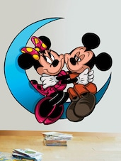 Mickey & Minnie On Moon Wall Sticker - Creative Width Design