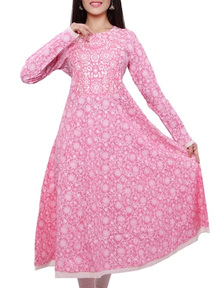 pink color, cotton floral printed and embroidered flared kurta