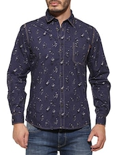 Pepe jeans blue Cotton casual shirt  -  online shopping for casual shirts