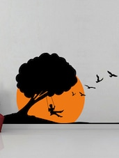 Boy On A Swing  On Tree Wall Sticker - Creative Width Design