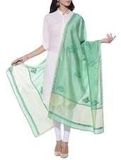 Green Chanderi Silk Chikankari Dupatta - By