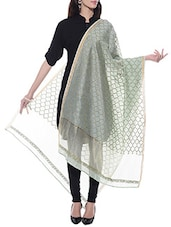 Pastel Green Chanderi Silk Chikankari Dupatta - By