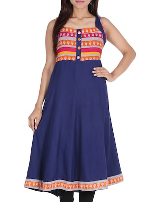 Blue Rayon printed anarkali Kurta -  online shopping for kurtas
