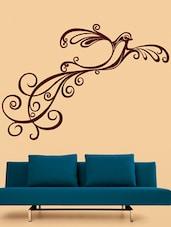 Maroon Curly Bird Vinyl Wall Sticker - Creative Width Design