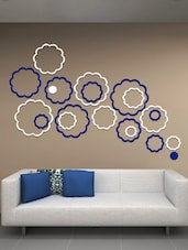 White, Blue Abstract Flowers 3D  Acrylic Wall Sticker - Creative Width Design