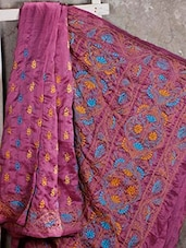 Kantha Embroidered Plum Purple Silk Saree - Manta's