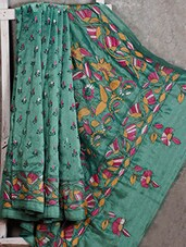 Kantha Embroidered Teal Green Silk Saree - Manta's
