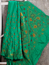 Kantha Embroidered Spring Green Silk Saree - Manta's