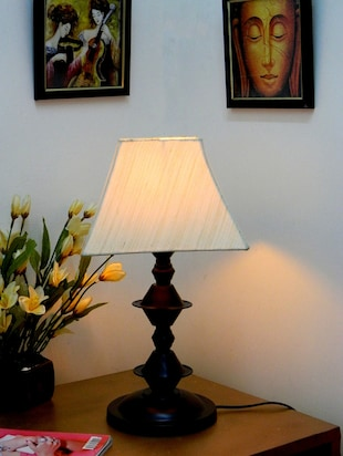 Brown Metal And Fabric Table Lamp