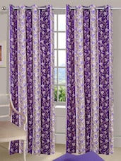 Purple Printed Bamboo Eyelet Door Curtain - Handloomdaddy