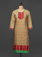 Printed Round Neck Three Quarter Sleeve Kurta - Taaga