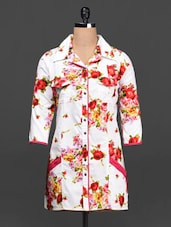 Floral Print Shirt Collar Cotton Shirt - Ayaany