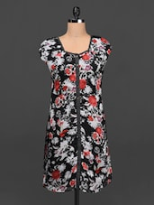 Floral Print Poly-georgette Shift Dress - Ayaany