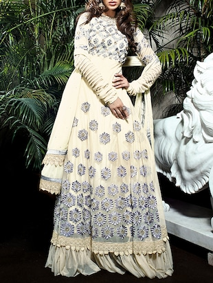 cream faux georgette dress material