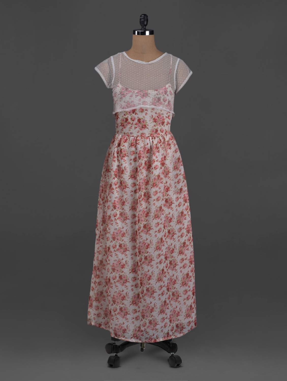 Floral Printed Short Sleeves Polyester Maxi Dress - Belle Fille