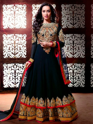 navy blue faux georgette dress material