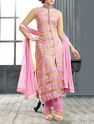 light pink faux georgette dress material