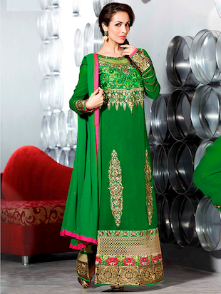 green faux georgette unstitched suit