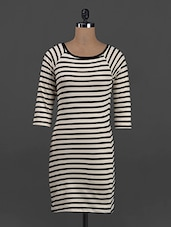 Stripes Printed Round Neck Cotton Knit Dress - Belle Fille