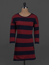 Stripes Printed Round Neck Cotton Knits Dress - Belle Fille