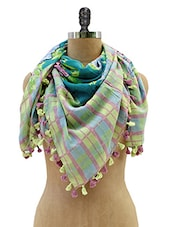 Check Patterned Cotton Stole With Tassels - KNOT-ME