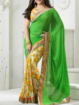 Green, Cream, Yellow poly georgette floral saree