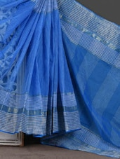 Check Border Self Stripe Blue Handloom Saree - Mmantra