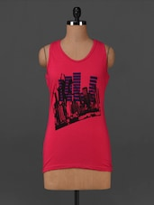 Pink Graphic Printed Cotton Tank Top - Posh 7