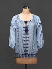 Steel Blue Embroidered Cotton Top - Global Colors
