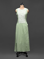 Pastel Green Embroidered Maxi Dress - Global Colors