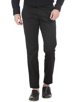 black cotton blend casual trousers