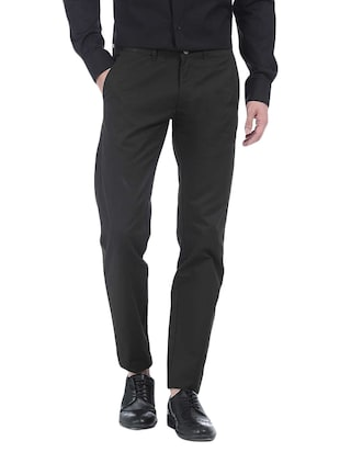 black cotton casual trouser