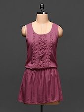 Pink Viscose Dress With Lace Work - Global Colors