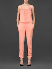 Peach Jumpsuit With Lace Detailing - Global Colours