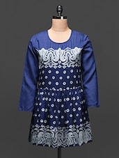 Navy Blue Embroidered Viscose Tunic - Global Colors