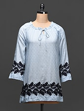 Steel Blue Embroidered Cotton Tunic - Global Colors