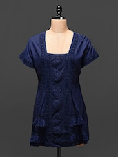 Navy Blue Embroidered Cotton Tunic - Global Colors