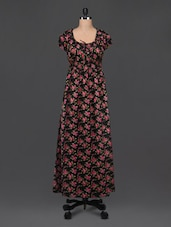 Black Cotton Floral Print Maxi Dress - Bhama Couture