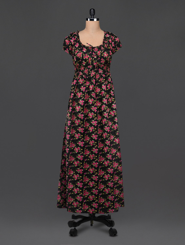 Black Cotton Floral Print Maxi Dress - Bhama Couture